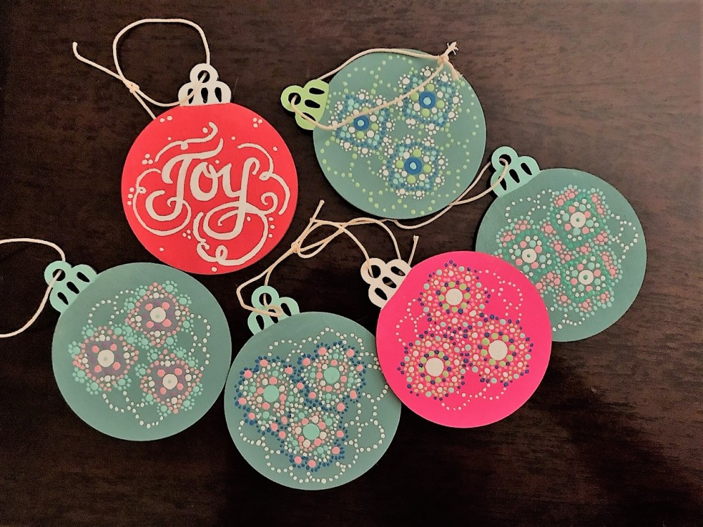 Carly's Christmas painted ornaments 2018